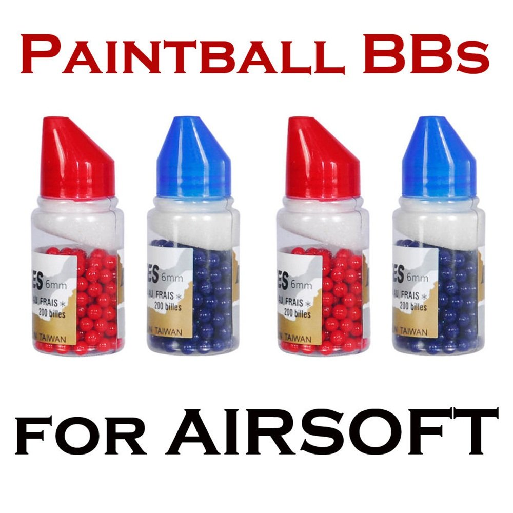 6mm Paintball bbs for Airsoft Guns Snipers Pistol Blue Red AMMO 800 Paint Rounds by Loader