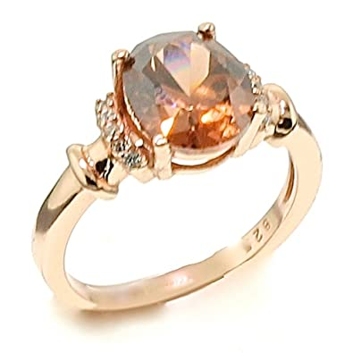 Amazoncom Oval Brown Chocolate CZ Cubic Zirconia Rose Gold Over