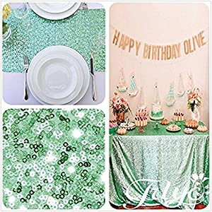 TRLYC Mint 84 X 108 Inch Square Sequin Table Cloth For Wedding Christmas Day