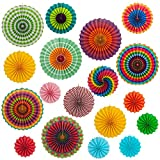 ANPHSIN 18 Pieces Assorted Colors Hanging Paper Fans, Vibrant Bright Colors Party Decorations Fan in 3 Different Sizes, Suitable Wedding, Baby Shower,Birthday