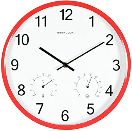 QXX 12 Pulgadas De Interior Y Exterior, Jardín, Reloj De Cuarzo, Termómetro, Higrómetro, Reloj Decorativo, Apto para Sala De Estar, Dormitorio, Estudio, Oficina: Amazon.es: Hogar