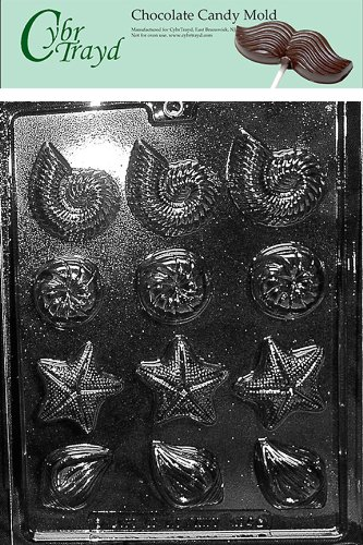 Cybrtrayd N054 Shell Assortment Chocolate Candy Mold with Exclusive Cybrtrayd Copyrighted Chocolate Molding Instructions