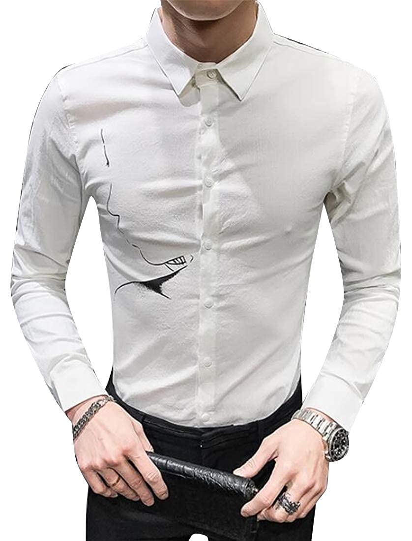 X-Future Mens Casual Business Floral Print Long Sleeve Lapel Button Down Shirts Tops