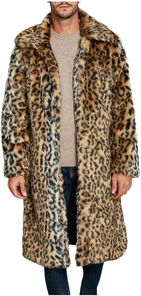 Mens Luxury Faux Fur Coat Jacket Winter Warm Long Coats Overwear Thicken Soft Overcoat Casual Cardigan