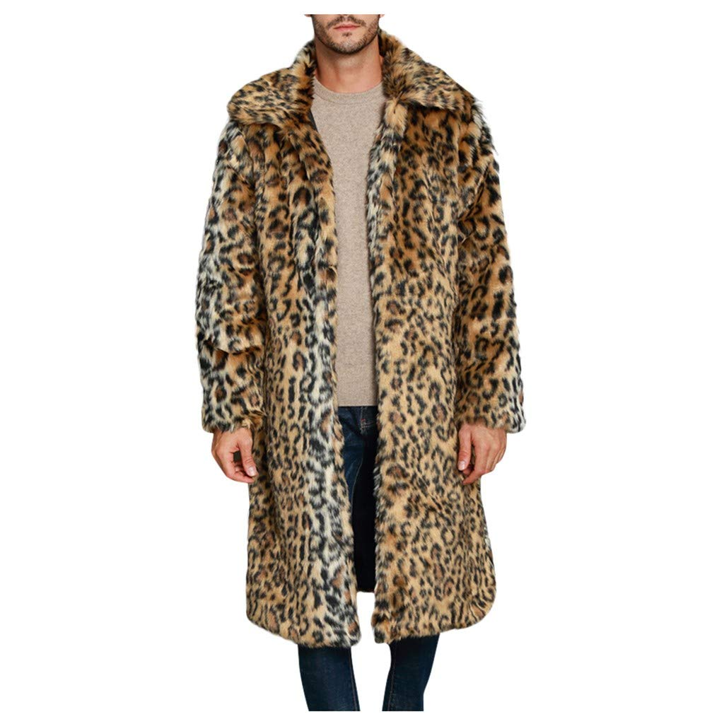 Mens Faux Fur Coat Long Jacket Winter Thick Warm Furry Overcoat Outwear Parker Coat by Vintress