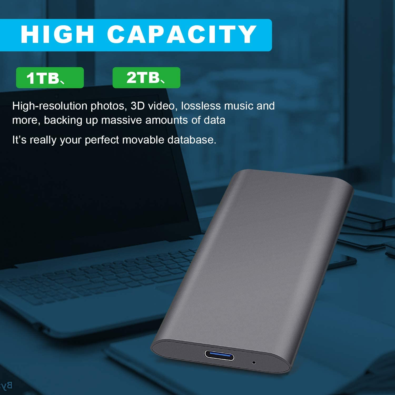 1tb, Negro PC,MacBook Xbox Disco Duro Externo 1tb USB 3.1 para Mac Chromebook