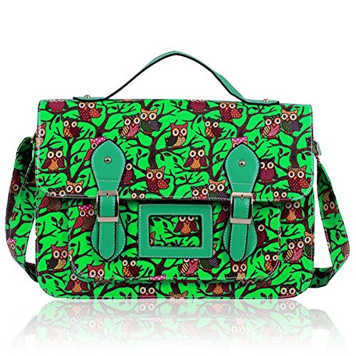 Crossbody Bags 1 girls College Boys Shoulder Cross school Animal Design Print With Strap Green for owl Body 4x5wTnqHv