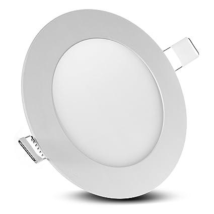 LED4U LED Slim Lámpara empotrada de techo, redonda, de 6W, color blanco frío, LD151C