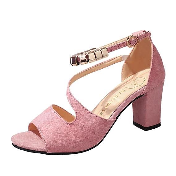 6d2603eebec Fasion Women Solid Color Buckle Square Heel Sandals High Heeled Shoe Peep  Toe Flatform Shoes Sandals