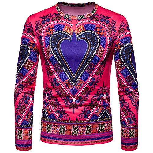 Toimothcn Men's Dashiki Tops African Ethnic Print Shirt Long Sleeve O-Neck Sweatshirt Pullover Top Blouse(Pink,M) ()