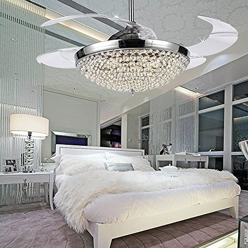COLORLED Crystal LED Ceiling Fans Light-42 Inch Transparent 4 Blades Mordern Fan Chandelier-for Indoor, Living Room, Dining Room, Bedroom and Restaurant House Ceiling Light Kits (Brass Crystal Type)
