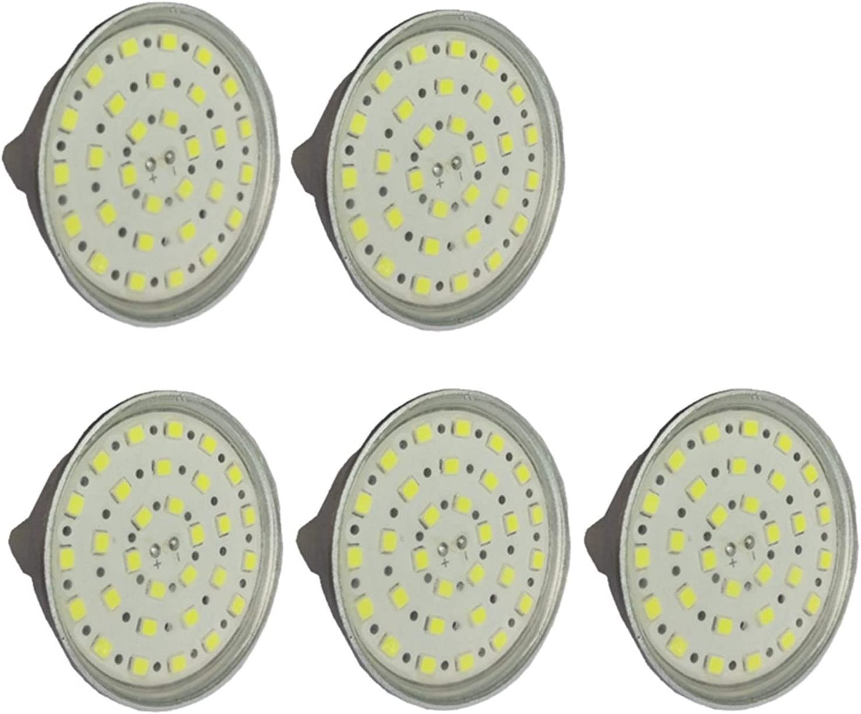WELSUN Bombilla 24v MR16 LED GU5.3 Bi-Pin Base, 6-Watt (50 vatios Equivalente), 450-500 Lumen, bulbos de AC DC 24-40V / Spotlight LED con Cubierta for el Glass [Clase energética A ++] 5-Pack