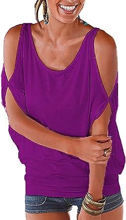 Mujer Camiseta Hombro Caido Manga Corta Cuello Barco T-Shirt Off Shoulder Blusa Camisa Verano Talla Grande Tops Jersey Tunica Basic tee Shirt Casual: Amazon.es: Ropa y accesorios