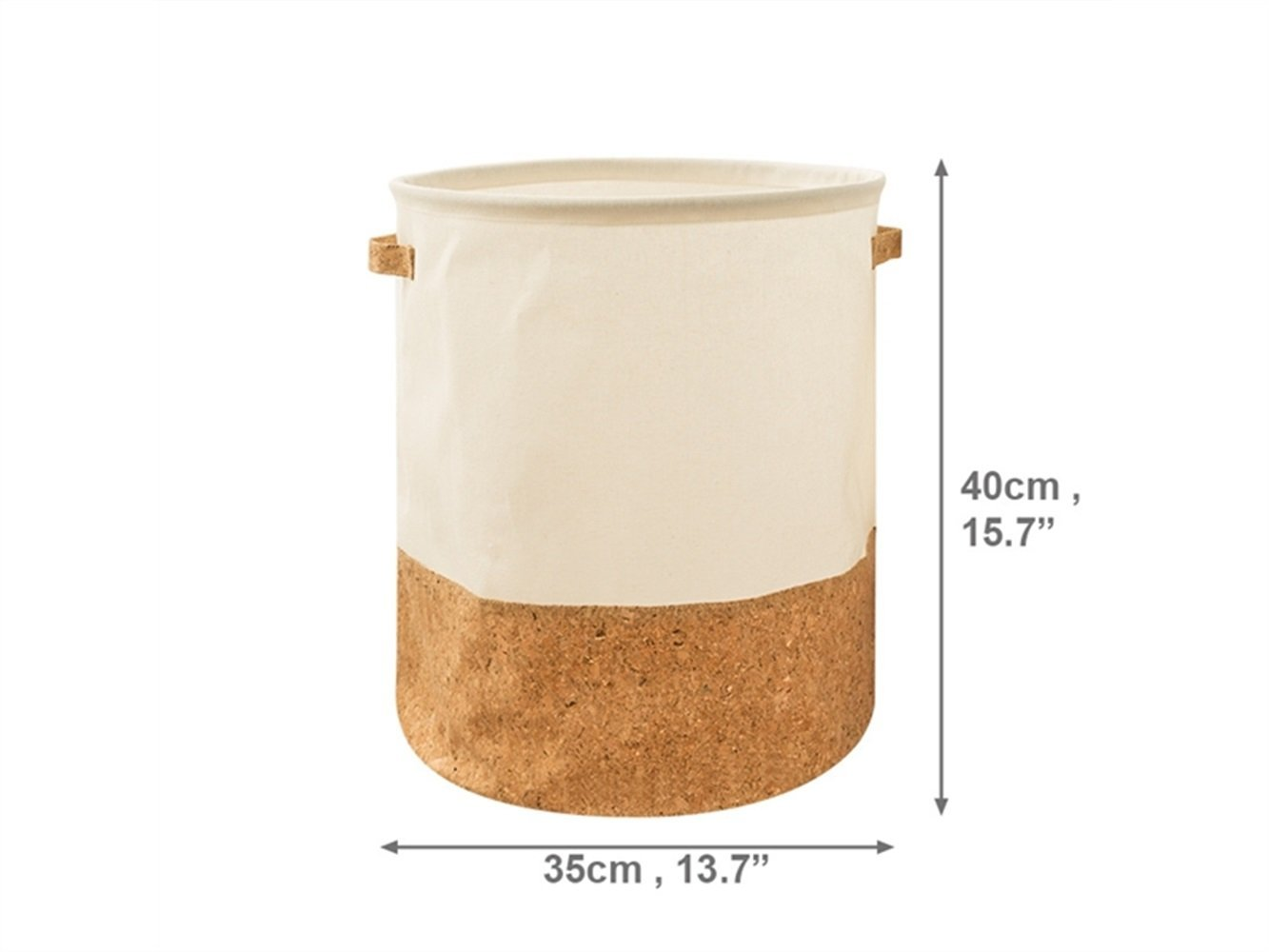 Gelaiken Lightweight Stitching Storage Box Cotton and Linen Box Sundries Storage Bucket (Light Brown+White)