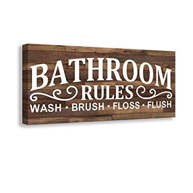 Kas Home Vintage Bath Canvas Wall Art | Rustic Bathroom Rules Prints Signs Framed | Bathroom Laundry Room Decor (8 X 16 inch, Bathroom Rules)