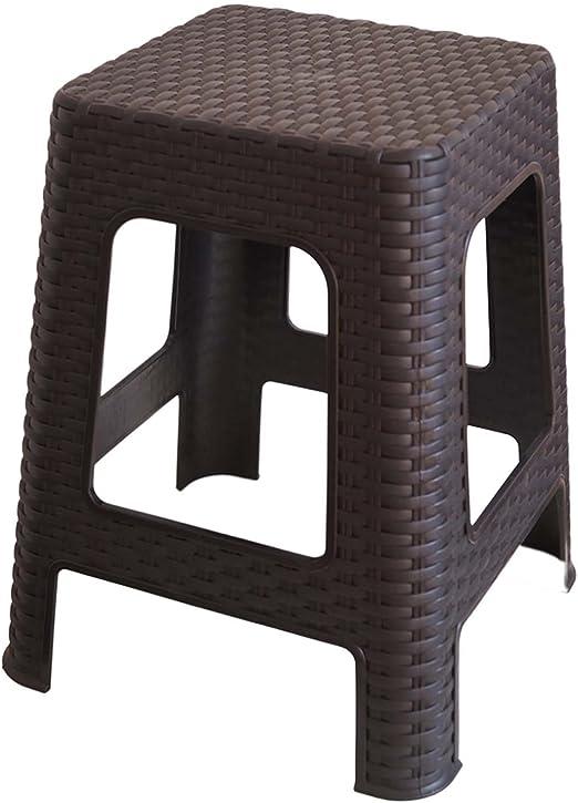 Kaiser-Handel - 2 taburetes de plástico, taburete de camping con diseño de ratán trenzado. Taburete de ducha estable, Muebles de jardín, terraza RH, Negro : Amazon.es: Jardín