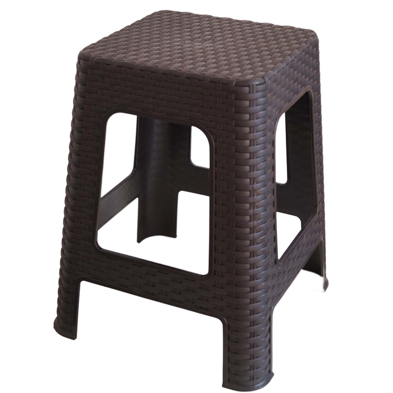 Plastic Stool Camping Stool Rattan Look Basket Weave Look Stable Shower Stool Garden Furniture Terrace Garden RH- Kaiser-Handel
