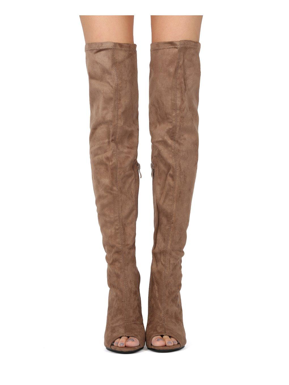 Alrisco Women Faux Suede Over The Knee Peep Toe Block Heel Boot HF42 - Mocha Faux Suede (Size: 10)