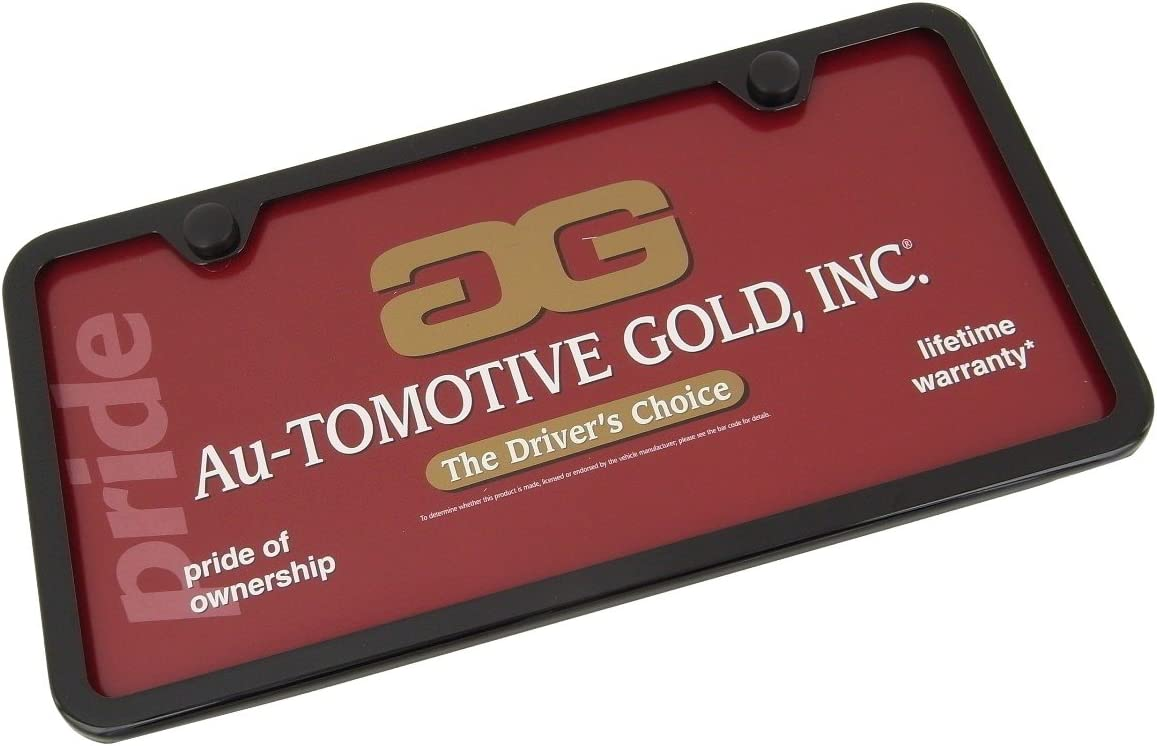 Au-Tomotive Gold Plain Slimline Metal License Plate Frame Black INC 2 Holes for Plain Frame