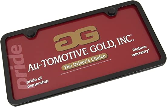 Au-Tomotive Gold 12 W x 6 H 12 W x 6 H Hemi Powdered Notched Black Stainless Steel License Plate Frame INC