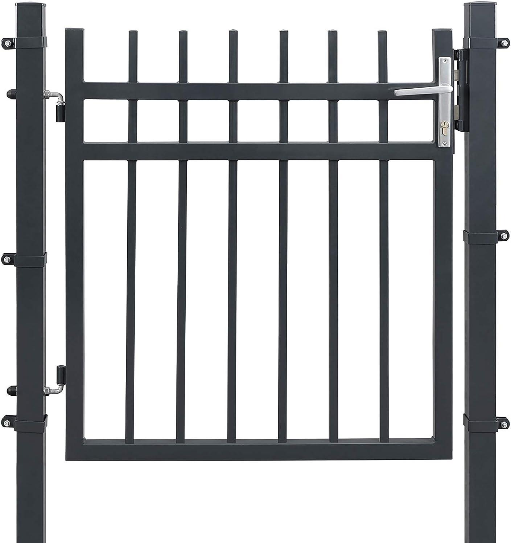 SONGMICS Puerta de Jardín de Hierro Galvanizado, Puerta para Valla, Robusta y Duradera, con Cerradura, Manija y Llave, 106 x 100 cm (Longitud x Altura), Gris GGD350G