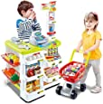 Kids Supermarket Playset with Toy Shopping Cart, Toy Cash Register, Checkout Counter, Working Scanner, Play Money, 23 Play Food for Baby Pretend Play