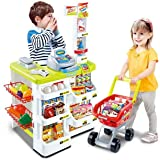Kids Supermarket Playset with Toy Shopping Cart, Toy Cash Register, Checkout Counter, Working Scanner, Play Money, 23…