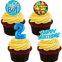 Made4You Decoración Comestible para Tarta de 2º Cumpleaños, Diseño de oblea, Color Azul