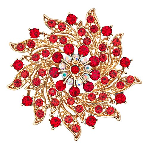 JewelryHouse Fancy Gold Plated Flower Imitation Crystal Brooches and Pins (Red)