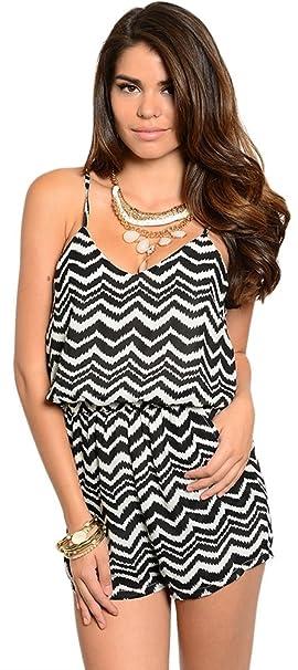 b390ea38df55 Amazon.com  Fad Habit Women s Tribal Black and White Striped Romper ...