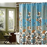 Alicemall Shabby Chic Shower Curtain Country Style White Magnolia Bathroom Shower Curtain Set, Blur Waterproof Polyester Fabric Shower Curtain, 72 x 78 inches, 12 Hooks Included