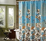 Country Style Curtains Alicemall Shabby Chic Shower Curtain Country Style White Magnolia Bathroom Shower Curtain Set, Blur Waterproof Polyester Fabric Shower Curtain, 72 X 78 inches, 12 Hooks Included