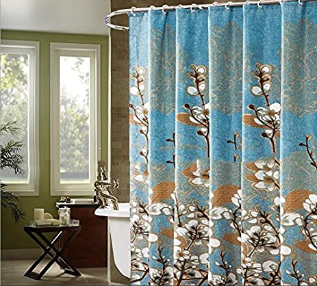 Alicemall Shabby Chic Shower Curtain Country Style White Magnolia Bathroom Set Blur Waterproof