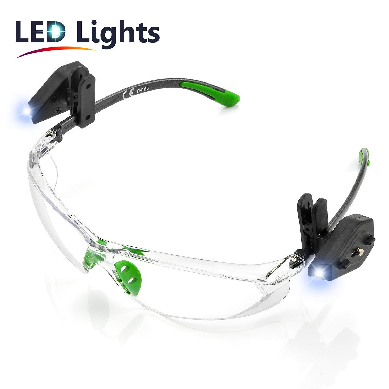 SAFEYEAR Luz LED Gafas Protectoras Hombres Antiniebla - Gafas de Seguridad con Lentes Antiarañazos SG003GN-L Color Negro y Verde