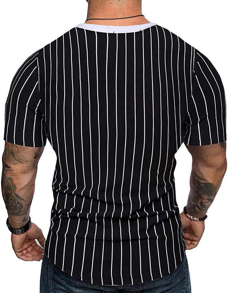 DATEWORK Mens Striped Splicing Pattern Casual Fashion Lapel Short Sleeve Shirt