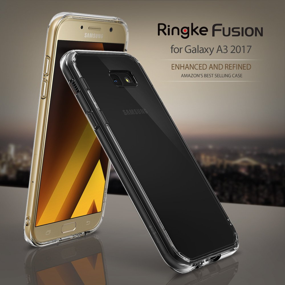 samsung a3 2017. amazon.com: galaxy a3 2017 case, ringke [fusion] crystal clear pc back tpu bumper [drop protection / shock absorption technology] for samsung