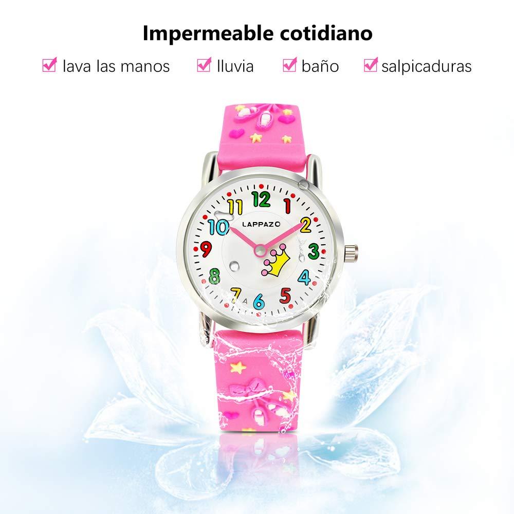 Lappazo- Reloj Analógico para Niña de Cuarzo del 3D Dibujos Kit de Princesa y Pulsera Plata Mariposa con Caja de Regalo para Niñas 3-15 Años