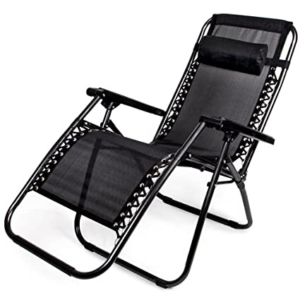 Bon Zero Gravity Outdoor Folding Lounge Chair With Pillow, Black
