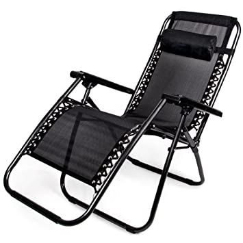 Amazon.com Zero Gravity Outdoor Folding Lounge Chair with Pillow Black Sports u0026 Outdoors  sc 1 st  Amazon.com & Amazon.com: Zero Gravity Outdoor Folding Lounge Chair with Pillow ...