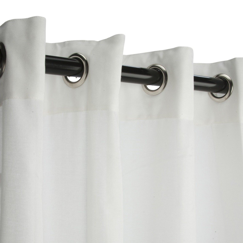 Sunbrella Outdoor Curtain with Grommets -Nickle Grommets-Sheer Snow