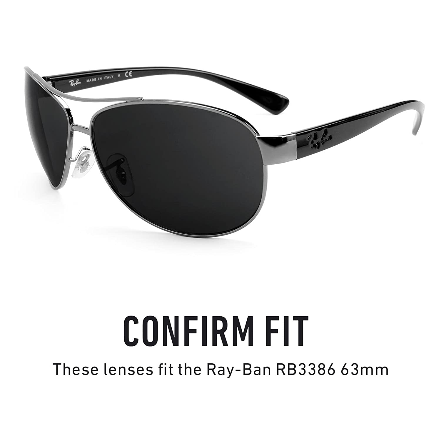 3dff666df51 Amazon.com  Revant Polarized Replacement Lenses for Ray-Ban RB3386 63mm  Elite Black Chrome MirrorShield  Sports   Outdoors