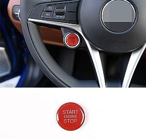 For Alfa Romeo Giulia Stelvio 2017-2019 Replacement ABS Plastic Car Start Engine Stop Cover Trim Accessories (red)