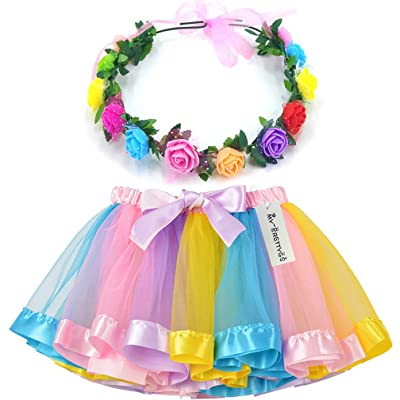 MY-PRETTYGS Layered Tulle Ballet Rainbow Tutu Skirt with Flower Crown Wreath Headband (Light Rainbow, L,4-8T): Clothing [5Bkhe0705026]