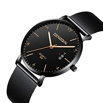 Lmtime 2019 Ultra-Thin Man Business Wrist Watch with Calendar Teens Quartz Stainless Steel Strap