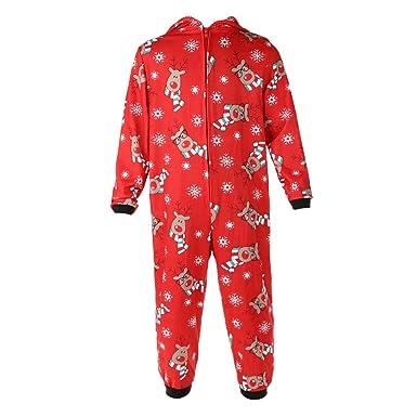 eb800a157d022 IPOTCH Ensemble De Pyjama De Noël Combinaison Tenue de Homewear Enfants  Garçons Filles Adulte Parent-