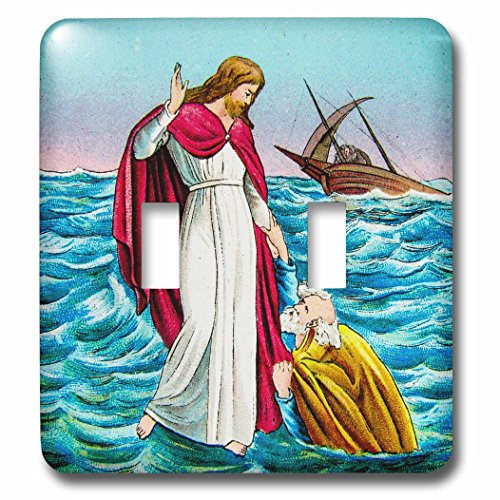 Scenes from the Past Magic Lantern - Jesus Walking on Water Bible Miracle Christian Magic Lantern 1890 - Light Switch Covers - double toggle switch (lsp_245960_2) by 3dRose