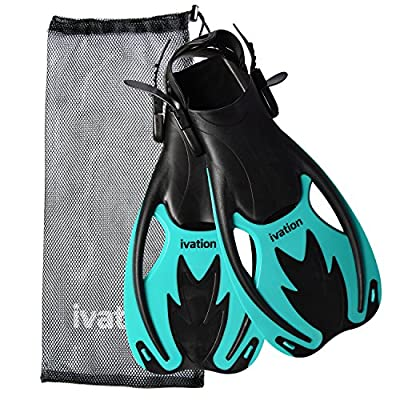 Kids Diving Fins Swim Fins Adjustable Speed Fins, Super-soft, High Grade Material, for Diving Snorkeling Swimming & Watersports. With Mesh Bag Ivation