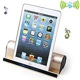 高音質Bluetooth スピーカー 【スタンド機能付き】 小型携帯用スピーカー 充電式 iPhone 5s/5C/4s、samsung galaxy、iPad 、iPod、Google Nexus、タブレット、スマートフォンとPC対応 (ゴールデン)