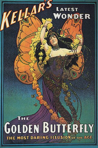 THE GOLDEN BUTTERFLY GIRL KELLAR MAGICIAN MAGIC LARGE VINTAGE POSTER REPRO -