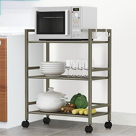 Hyun veces microondas estante ampliar carrito de almacenamiento estante de almacenamiento de baño carrito de almacenamiento